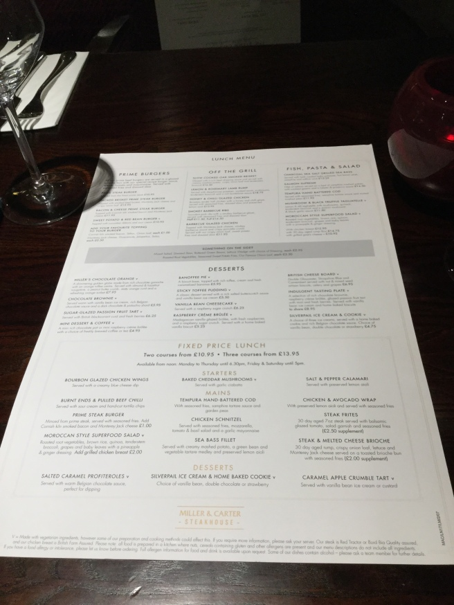 2. Miller & Carter menu