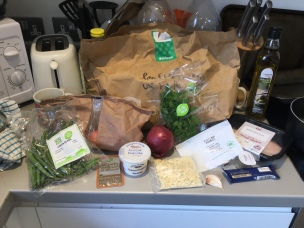 Herby chicken ingredients and bag