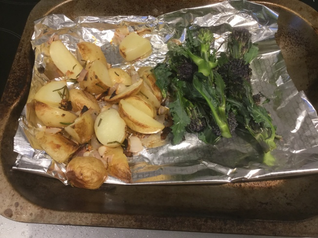 38. Potatoes and broccoli on baking tray