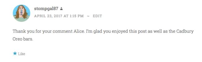 Reply to Alice's comment