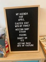 April agenda letter board