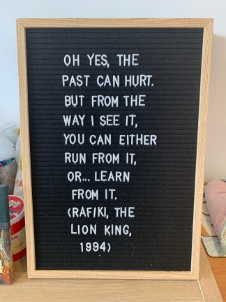 Rafiki quote on letter board