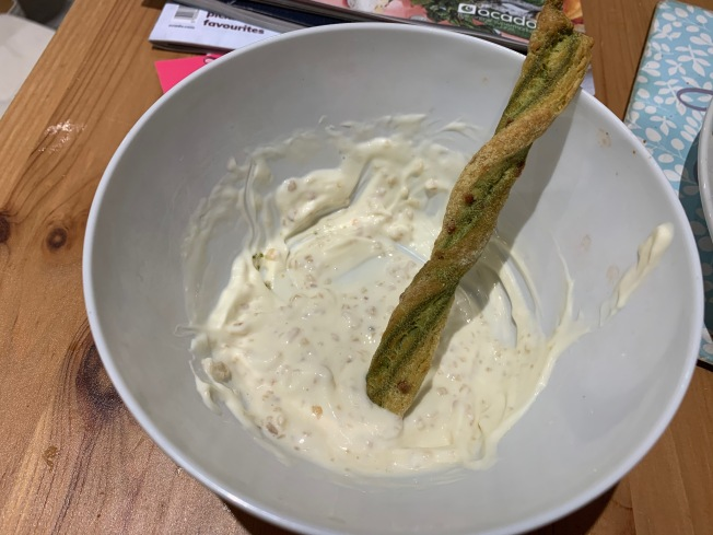 Gruyere and Spinach Twist in Garlic Mayo
